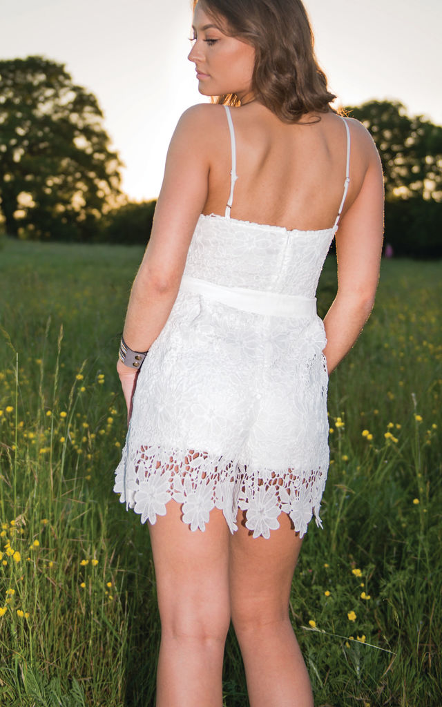 Millie V Neck Crochet Playsuit in White by Lily Rose Boho