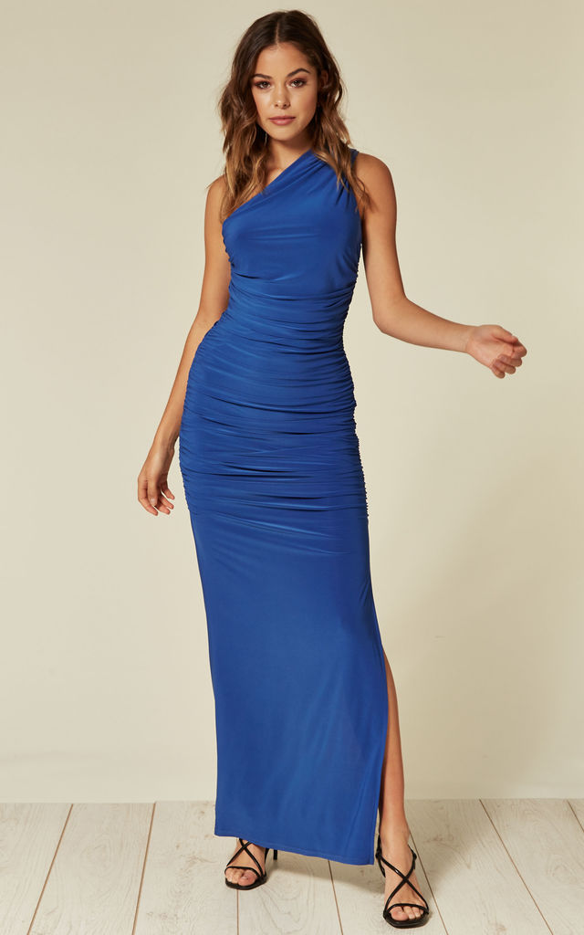 Angelina Blue One Shoulder Maxi Bridesmaid Dress by Revie London
