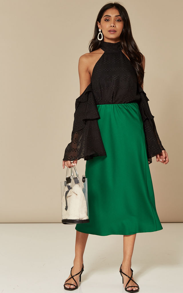 Emerald Satin Slip Skirt by India Gray