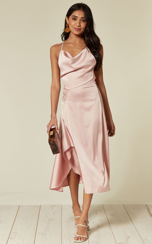 f2eeffef0efb0b Satin Cowl Neck Midi Dress With Frill Split And Tie Back In Pink. By D.Anna