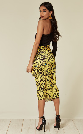 Satin leopard print midi wrap skirt in yellow by D.Anna