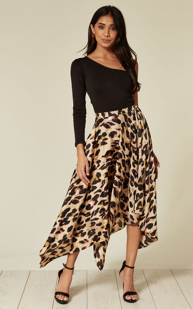 offer discounts order big discount Satin Pleated Asymmetrical Midi Skirt In Leopard Print By D.Anna