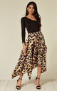 Satin pleated asymmetrical midi skirt in leopard print by D.Anna