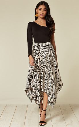 Satin animal print pleated asymmetrical midi skirt by D.Anna