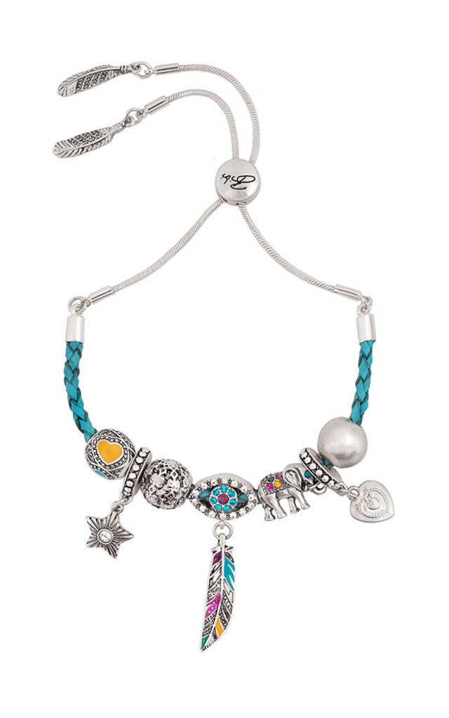 Tangier Friendship Charm Bracelet with Braided Leather by Bibi Bijoux