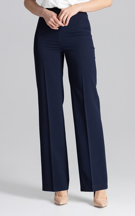 Straight Wide Leg Trousers in Navy by FIGL