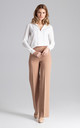 Straight Wide Leg Trousers in Brown by FIGL