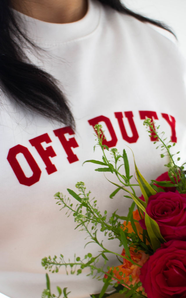 Off Duty Slogan Sweatshirt in White by Peggy and Sam