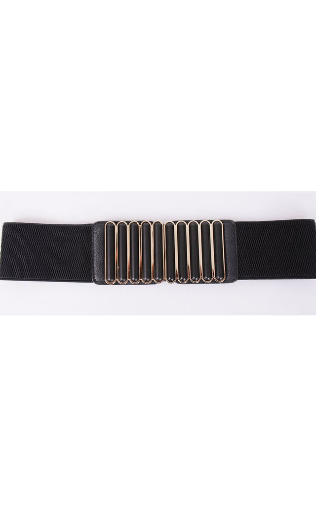Black & Gold Belt with Wide Buckle by Urban Mist