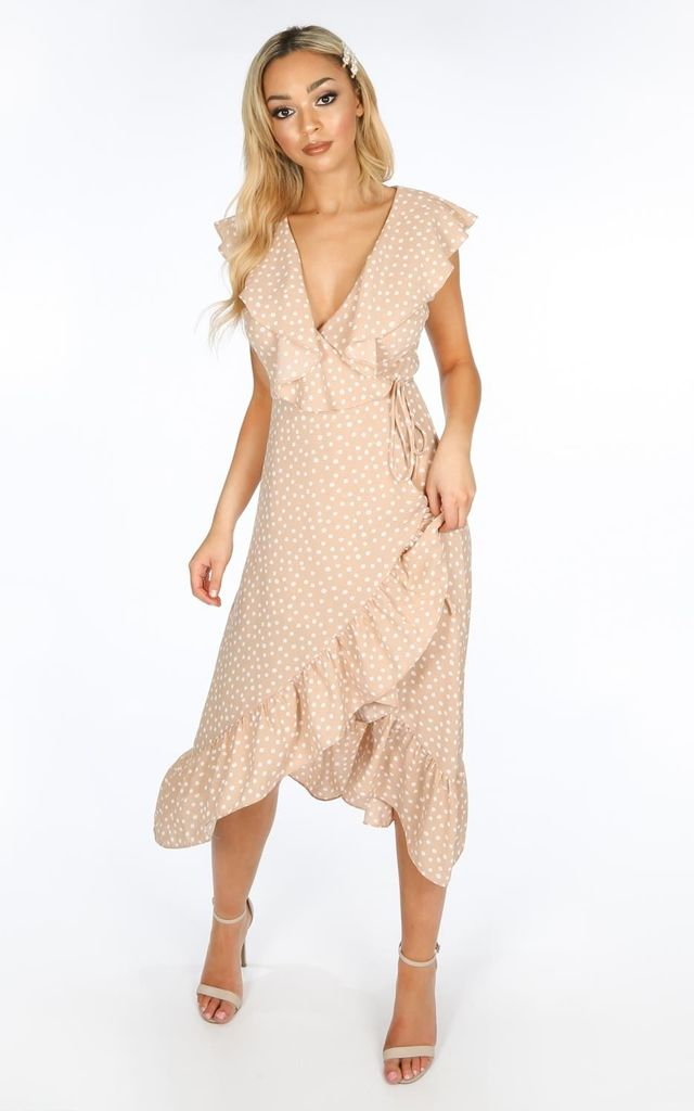 773fcd9fa4ff Sleeveless Midi Wrap Dress in Nude Polka Dot by Dressed In Lucy