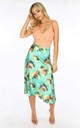 Satin Bias Midi Skirt in Green Tie-Dye by Dressed In Lucy