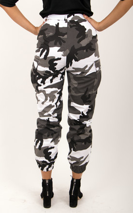 Black and White  Camo Cargo Printed Side Pockets High Waisted Trousers Pants by MISSTRUTH