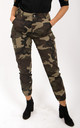 Green  Camo Cargo Printed Side Pockets High Waisted Trousers Pants by MISSTRUTH