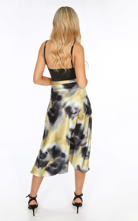Satin Bias Midi Skirt in Black Tie-Dye by Dressed In Lucy