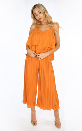 Co-ord Set | Crinkle Pleat Palazzo Trousers and Cami in Orange by Dressed In Lucy