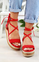 Red Espadrille Tie Up Sandals by Larena Fashion
