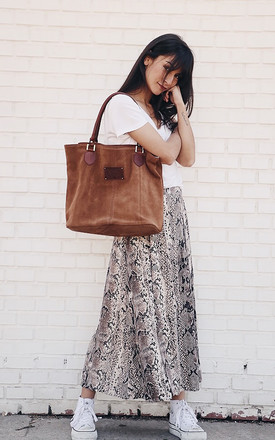 SUEDE MAXI TOTE BAG in BROWN by THE CODE HANDBAGS
