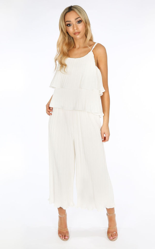 Co-ord Set | Crinkle Pleat Palazzo Trousers and Cami in White by Dressed In Lucy