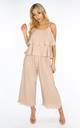 Co-ord Set | Crinkle Pleat Palazzo Trousers and Cami in Nude by Dressed In Lucy