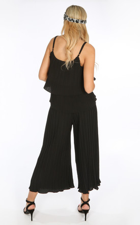 Co-ord Set | Crinkle Pleat Palazzo Trousers and Cami in Black by Dressed In Lucy