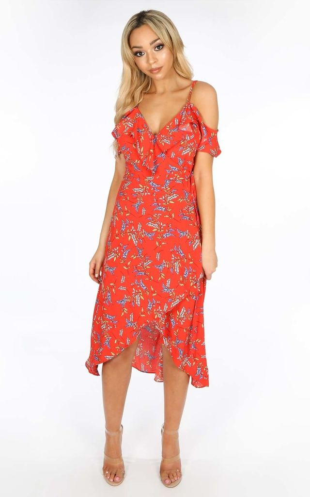 0209ea8c8c0 Cold Shoulder Midi Wrap Dress in Red Floral Print by Dressed In Lucy