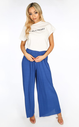 Pleated Palazzo Trousers in Cobalt Blue by Dressed In Lucy