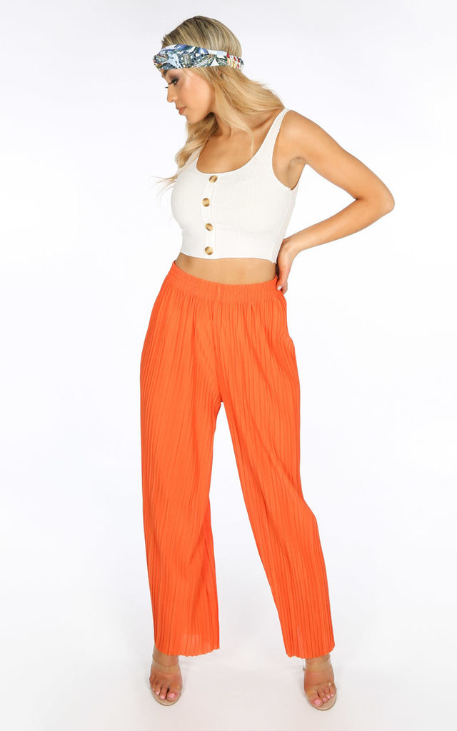 Pleated Palazzo Trouser in Orange by Dressed In Lucy