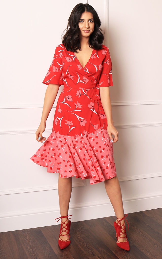 Midi Wrap Dress in Red/Pink Scattered Floral Print by One Nation Clothing