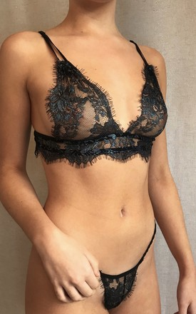 DIAMOND lace lingerie set | Bra and Thong in Black by Bliss Intimates