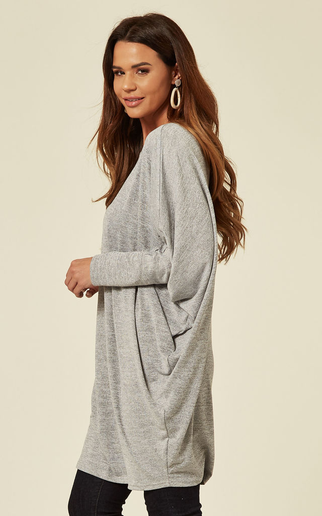 DEFNE - Oversized Batwing Top in Grey by Blue Vanilla