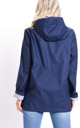 Waterproof Hooded Festival Rain Mac Coat Navy Blue by LILY LULU FASHION