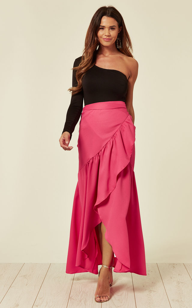ALYA - PINK FRILL EDGE WRAP SKIRT by Blue Vanilla