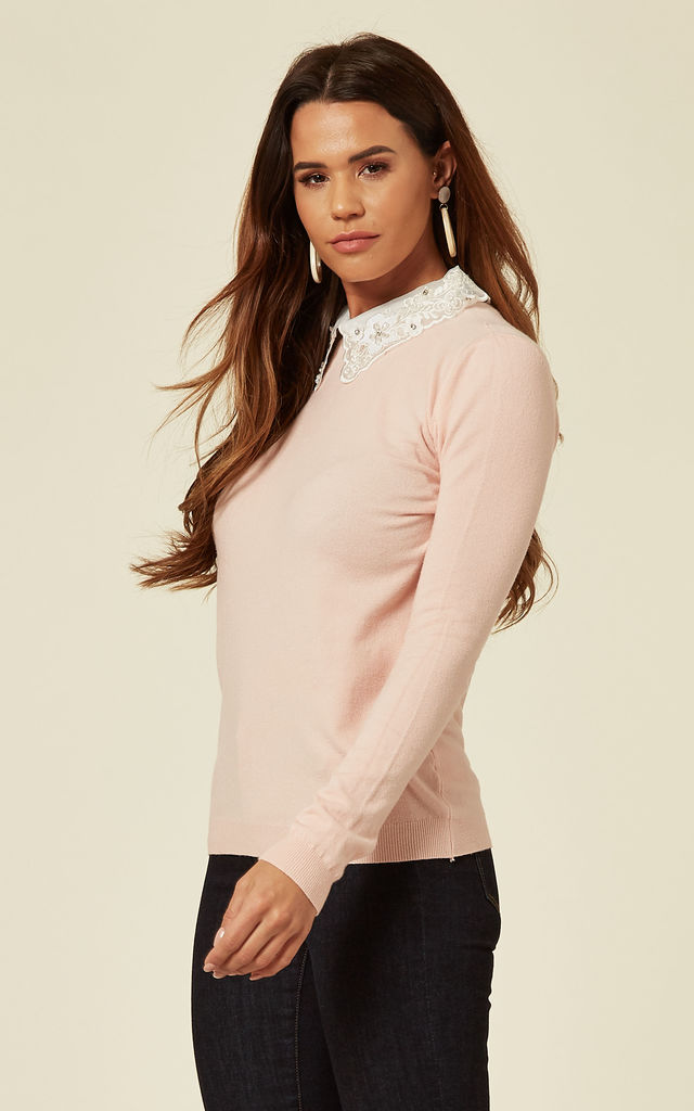 LORALYN – Organza Lace Collar Jumper in Pink by Blue Vanilla