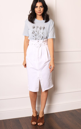 White Paperbag Denim Midi Skirt with Frayed Hem by One Nation Clothing