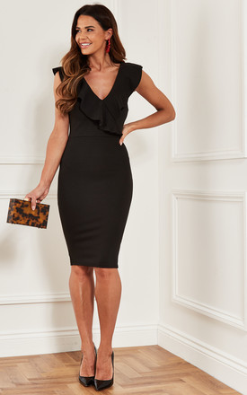 Bodycon Midi Dress With Frill Neckline In Black by Luna Product photo