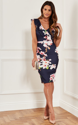 Bodycon Midi Dress With Frill Neckline In Navy Floral by Luna Product photo