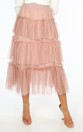 Bridal Layered Tulle Midi Skirt in Pink by Dressed In Lucy
