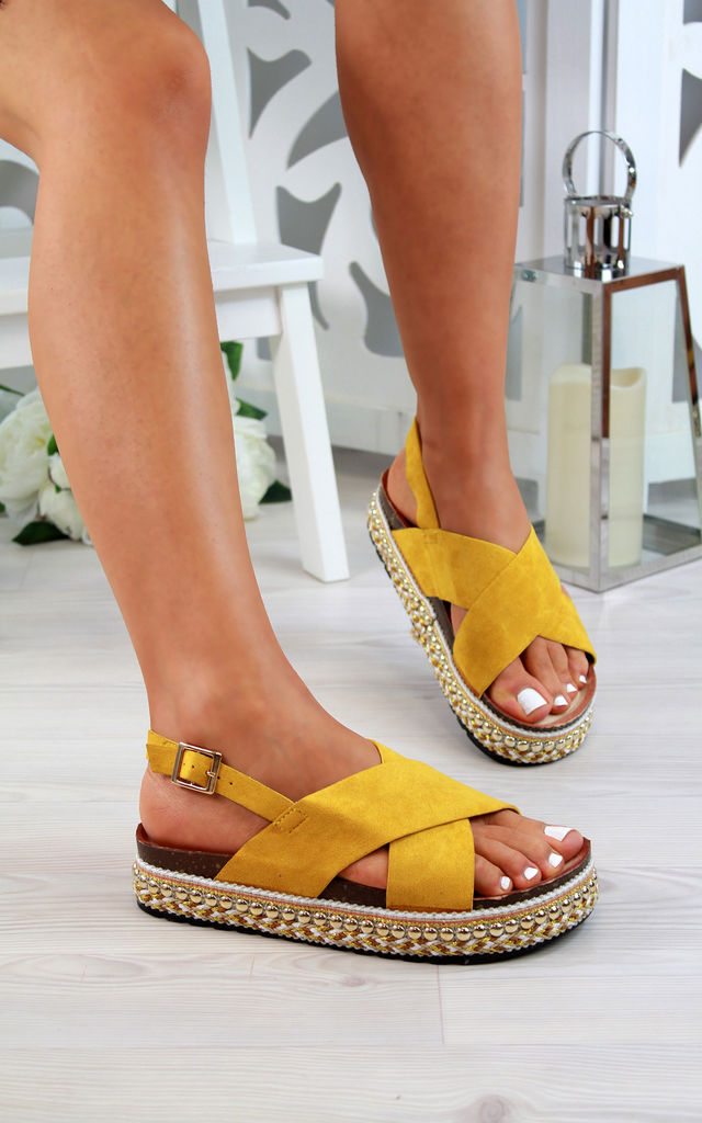 Yellow Studs Slingback Sandals by Larena Fashion