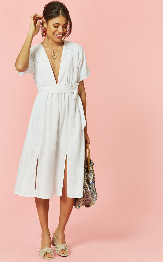 Plunge neck midi dress in White by Glamorous