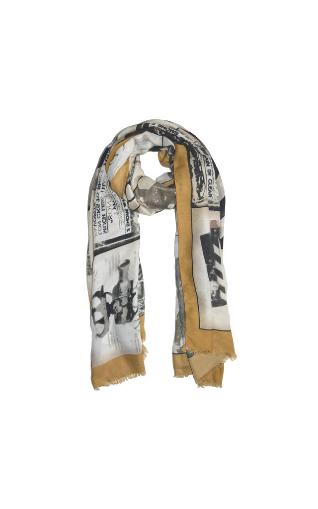 Cannes Print Scarf in Mustard by White Leaf