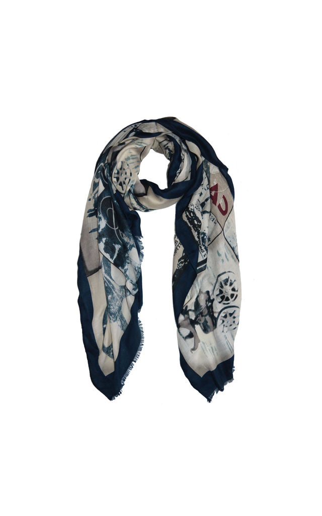 Cannes Print Scarf in Navy by White Leaf