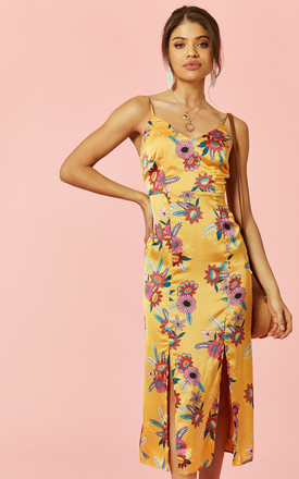 9383fb4e2b04 Yellow Floral Slip Dress With Front Splits