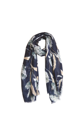 Dahlia Print Scarf In Navy Blue by White Leaf Product photo