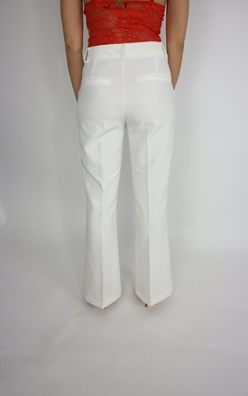 Flared Suit Trousers In White/Cream by Unscripted