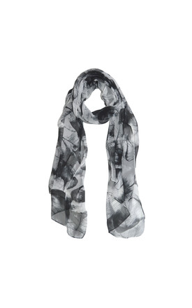 Leaf Print Scarf In Black And White by White Leaf Product photo