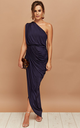 399b19fd88b Luciana One Shoulder Ruched Maxi Dress Navy