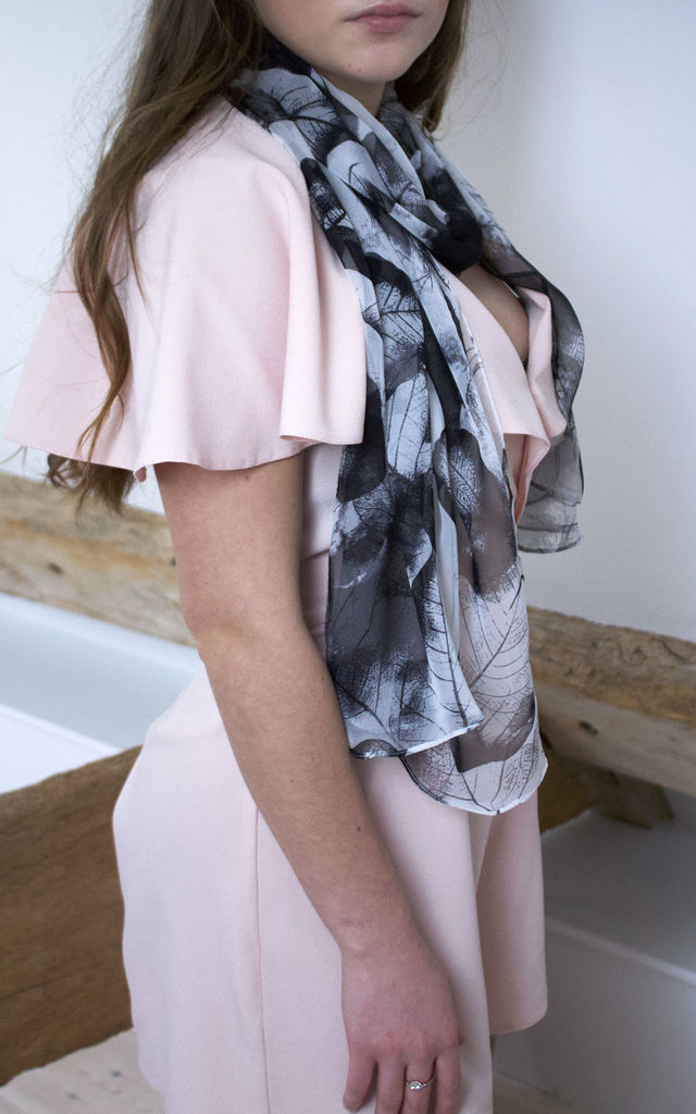 Leaf Print Scarf in Black and White by White Leaf