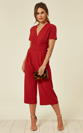 Megan Short Sleeve Culotte Jumpsuit Red by Girl In Mind