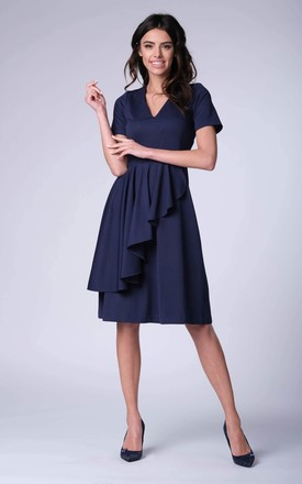 Flared Frill V-Neck Midi Dress in Navy by Bergamo