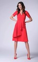 Flared Frill V-Neck Midi Dress in Red by Bergamo